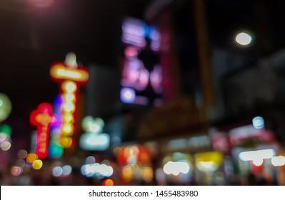 Bokeh background image of Yaowarat Road.