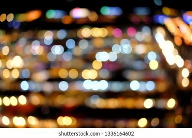 Bokeh with blur ligth at night local market  - defocused Image