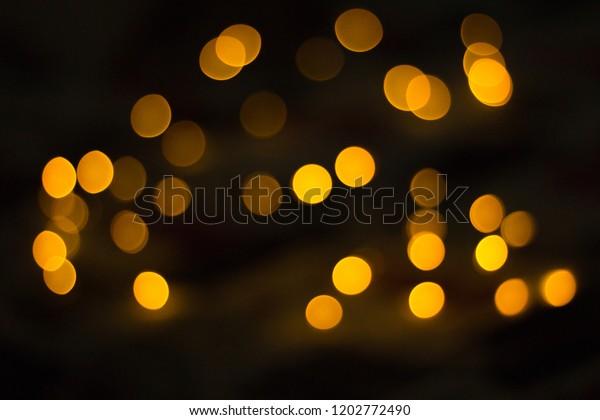 Bokeh Blurred Yellow Fairy Lights On Stock Photo Edit Now 1202772490