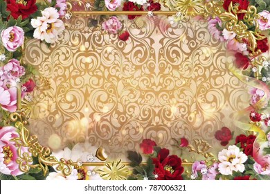 Bokeh boubles with Glittery flowers background for TV program with Valentine and Wedding theme. seamless loopable HD video.