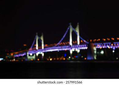 bokeh bridge of busan