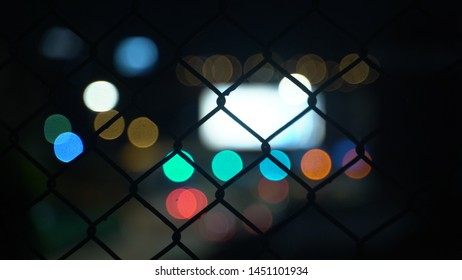 Bokeh with Chainlink fence mesh