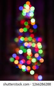 Bokeh of Christmas tree with lights