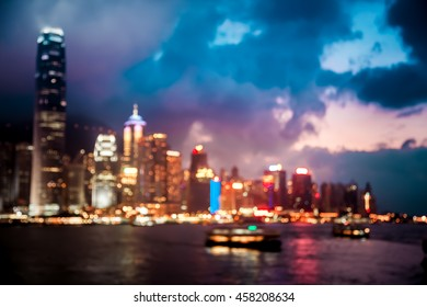 Bokeh Hong Kong city night background