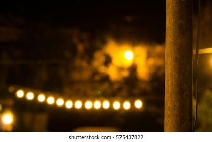 Bokeh from incandescent light bulb