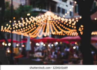 Bokeh light blub in festival market at One Nimman Building, Chiang Mail Thailand