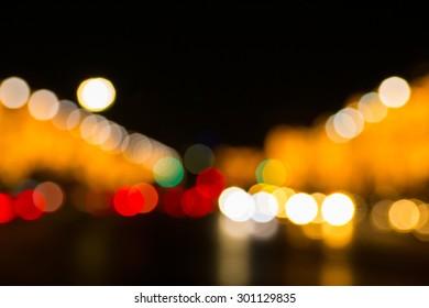 Bokeh light of driving car