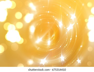 Bokeh light gold abstract background. illustration digital.