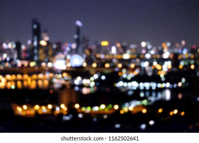 Bokeh light at night city, It's colourful light, defocus city night light bokeh  background. Bokeh around of the town. Image Blur abstract concept.