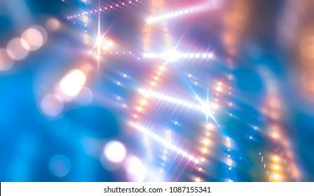 Bokeh light, shimmering blur spot lights on neon abstract background. illustration digital.