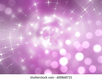Bokeh light, shimmering blur spot lights on pink. llustration digital.