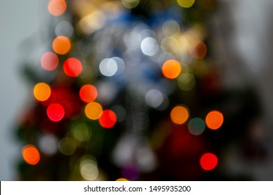 bokeh lightling and blur chritmas tree