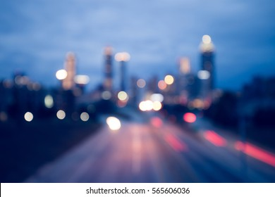 Bokeh lights of modern city night skyline