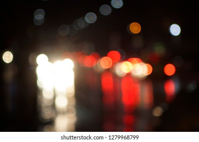 Bokeh made with night city lights on the street