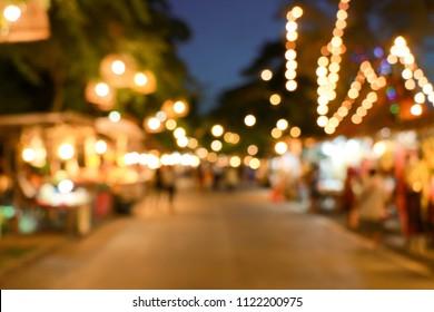 Bokeh night market in thailand