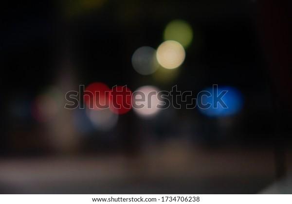 Bokeh at night on street in Barcelona,Spain