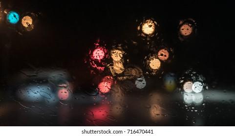 bokeh in rainy night