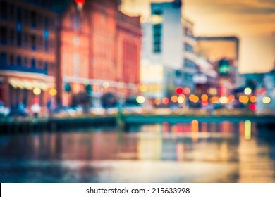 Bokeh seen at the Inner Harbor in Baltimore, Maryland.