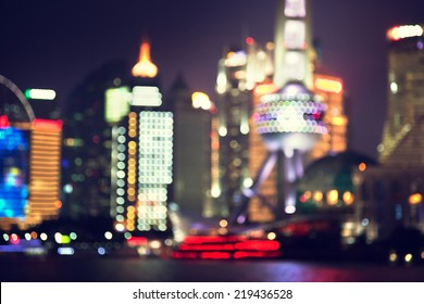 bokeh, Shanghai at night, China