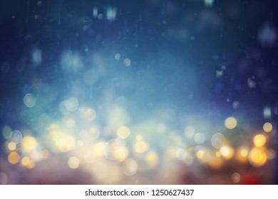 Bokeh shiny abstract background. Defocused blue background