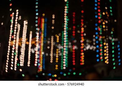 Bokeh of small light chain, Bokeh of many small light, Bokeh of many small lamp