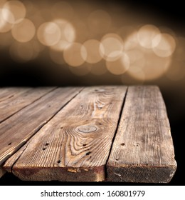 bokeh space and old wooden table of empty space