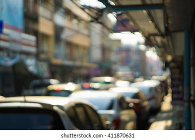 The bokeh of the street on summer