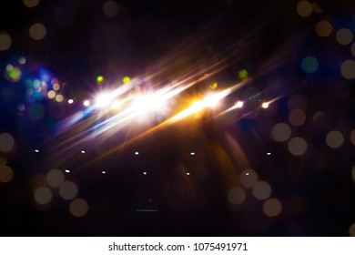 Bokeh of theatre lights with ble and yellow tinges