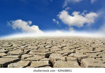 Boken dry ground and sky .Drought