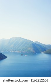 Boko-kotorska bay in Montenegro. Epic arial view of the island of Saint George Island and the Roman Catholic Church of Our Lady of the Rocks Church. Landscape, a trip to Montenegro, Perast and Kotor.