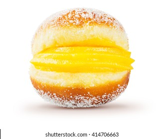 Bola de Berlim, or Berlin Ball, a Portuguese pastry made from a fried doughnut filled with sweet eggy cream and rolled in crunchy sugar on a white background.
