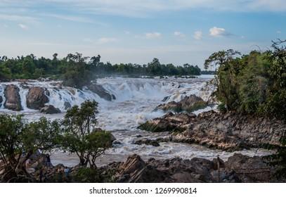 bolaven plateau, laos - 11 24, 2018: tad hang waterfall