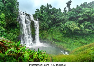 The Bolaven Plateau, Tad Yuang or Yuang fall, The big waterfall in green jungle near Pakse,Champasak,Laos
