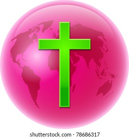 Bold colourful illustration of a pink coloured globe of the whole world with a bright green cross symbol designed over the top.