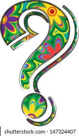 Bold floral patterned question mark.
