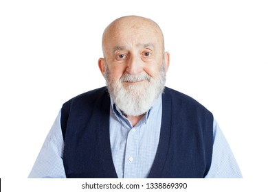 bold old man on isolated white background