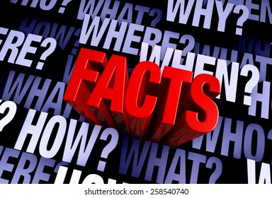 """A bold, red """"FACTS"""" rises from A 3D blue gray background filled with """"WHO?"""", """"WHAT?"""", """"WHERE?"""", """"WHEN?"""", """"HOW?"""", and """"WHY?"""" at different depths."""