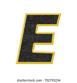Bold rough textured uppercase or capital letter E in a 3D illustration with an etched line surface texture and yellow edge outlined basic bold font isolated on a white background with clipping path.