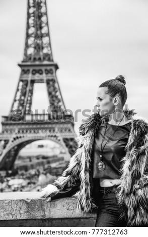 Bold Paris bold winter paris portrait modern woman stock photo (edit now