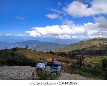 The Bolder road between Sandakphu to Phalut. Mt. Kanchenjunga is in background.