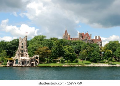 Boldt Castle and Alster Tower on Heart Island, St. Lawrence River, USA
