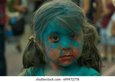 Boleslawiec, Poland 20 August 2017 an unidentified small girl has fun on the festival of colors in Boleslawiec Poland on 20 August 2017