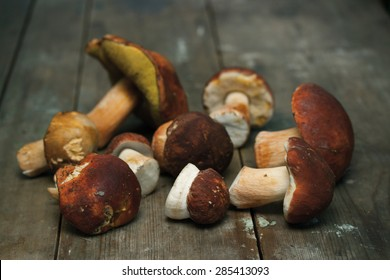 boletus edulis, mushrooms on wooden table
