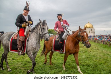 "Bolgar, Tatarstan / Russia - 08.10.2019: festival ""The Great Bulgar 2019"", a competition of horse riders in historical costumes"