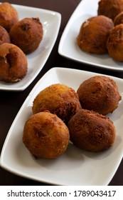 """The """"Bolinhas de Alheira"""" is a Portuguese typical fried appetizer."""