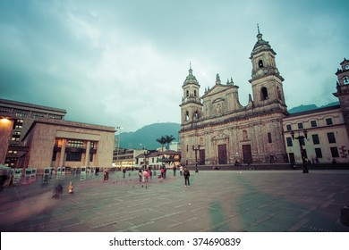 Bolivar square in Bogota, central square in Bogota, Colombia, Latin America