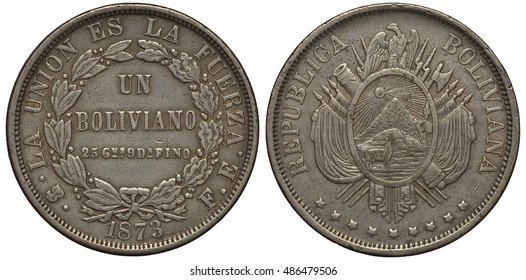 Bolivia, Bolivian coin one boliviano 1973, circular wreath, inscription in Spanish Union is Force, arms, llama, hill, mountain and sun with rays, flags, guns and cannon behind, condor on top, silver,