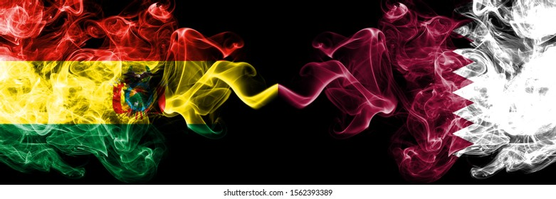 Bolivia, Bolivian vs Qatar, Qatari smoky mystic states flags placed side by side. Concept and idea thick colored silky abstract smoke flags