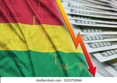 Bolivia flag and chart falling US dollar position with a fan of dollar bills
