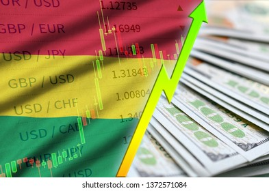 Bolivia flag and chart growing US dollar position with a fan of dollar bills